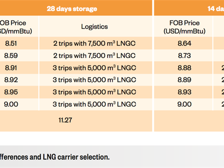 LNG value chain optimisation case Aruba_FOB price differences and LNG carrier selection.
