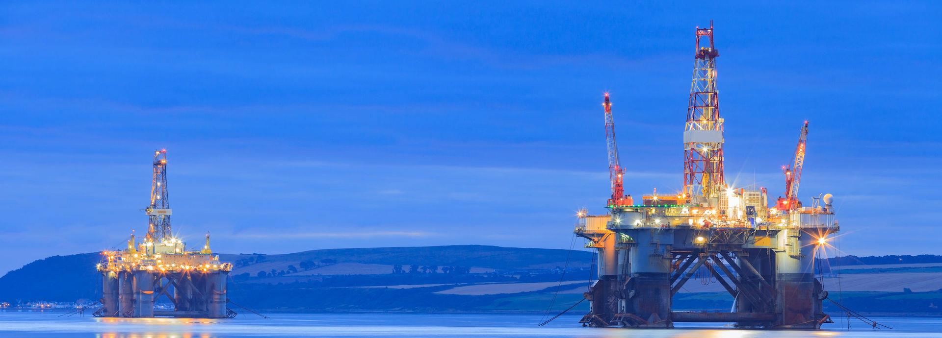 Offshore drilling rigs off the coast of Scotland