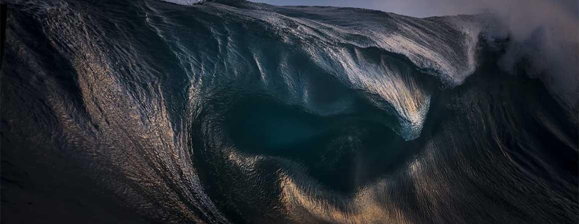 Oceanic awakening wave slide background