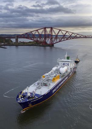Fig. 1 - JS INEOS INSIGHT - member of the worlds fist series of ethane-powered marine vessels in Grangemouth, Scotland.