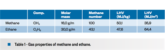Table 1 - Gas properties of methane and ethane.