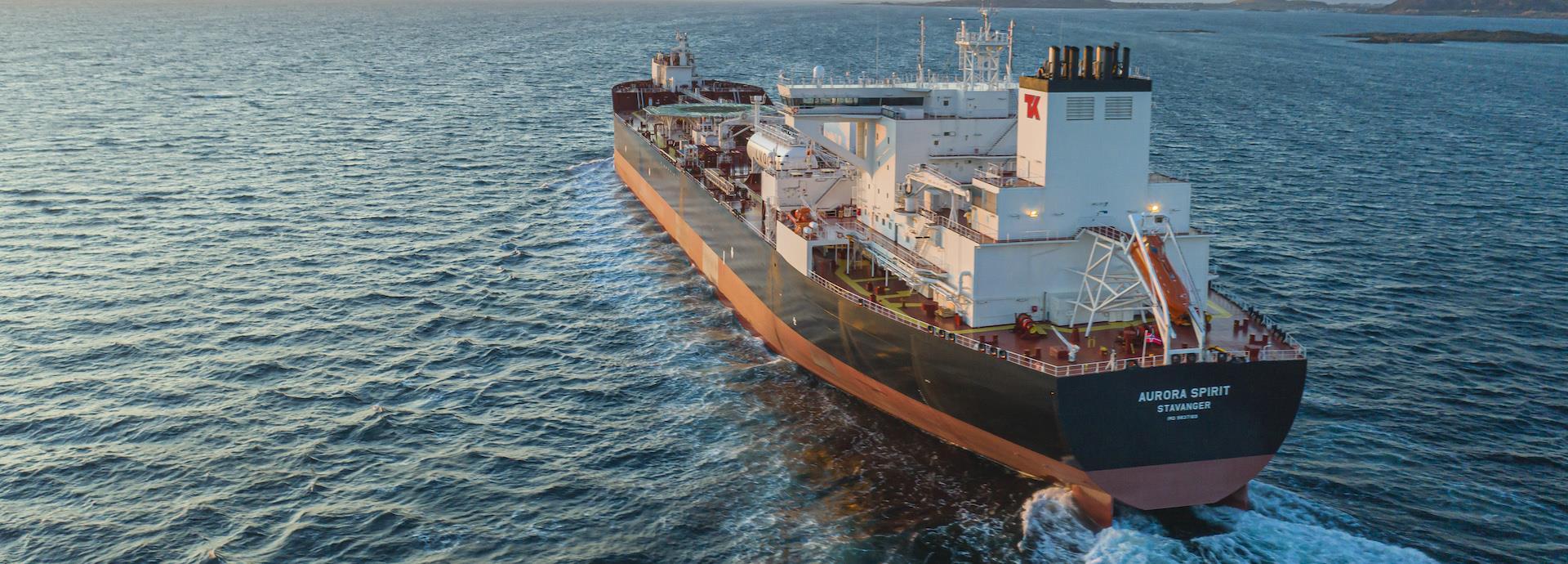 The Aurora Spirit, a new e-shuttle tanker, sets sail.