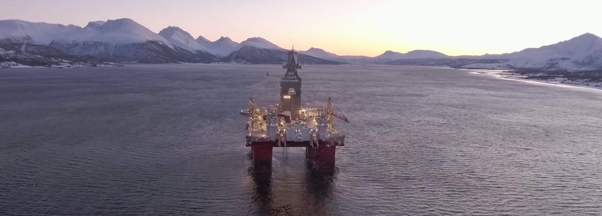 Offshore drilling rig winter scene