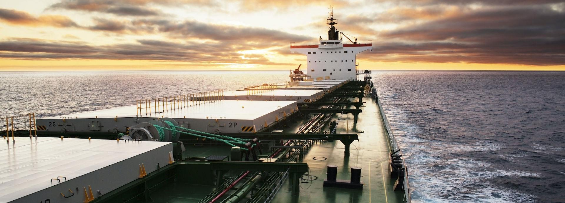 Cargo ship at sea, view from bridge