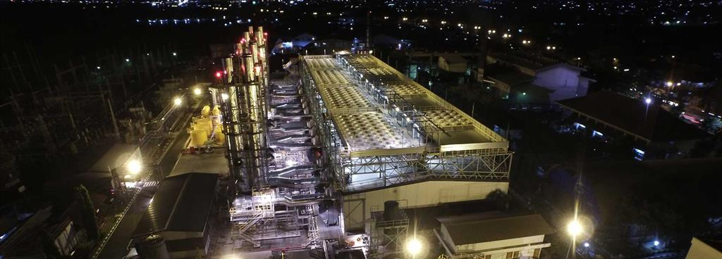 Aerial night view of PLN Pesanggaran power plant, Bali